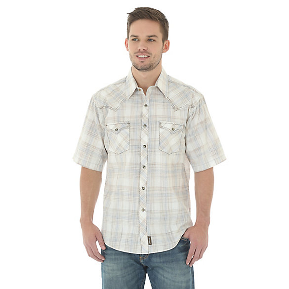 Men's Wrangler Retro® Short Sleeve Western Snap Poplin Plaid Shirt