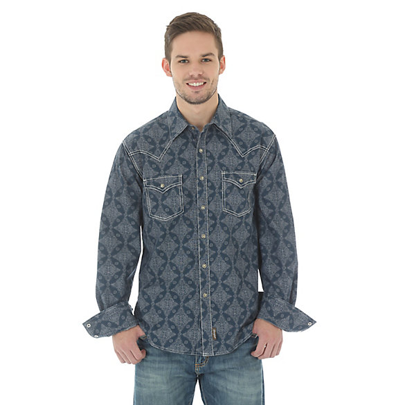 Men's Wrangler Retro® Long Sleeve Western Snap Overprint Shirt