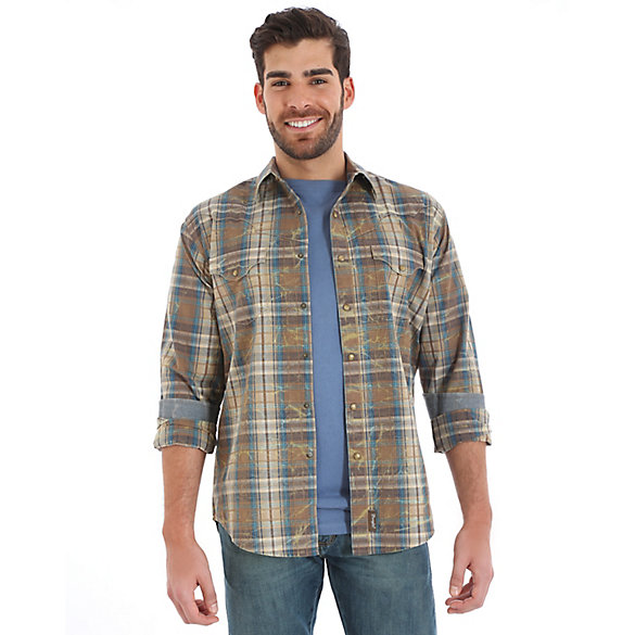 Men's Wrangler Retro® Western Snap Vintage Yokes Plaid Shirt (Tall Sizes)
