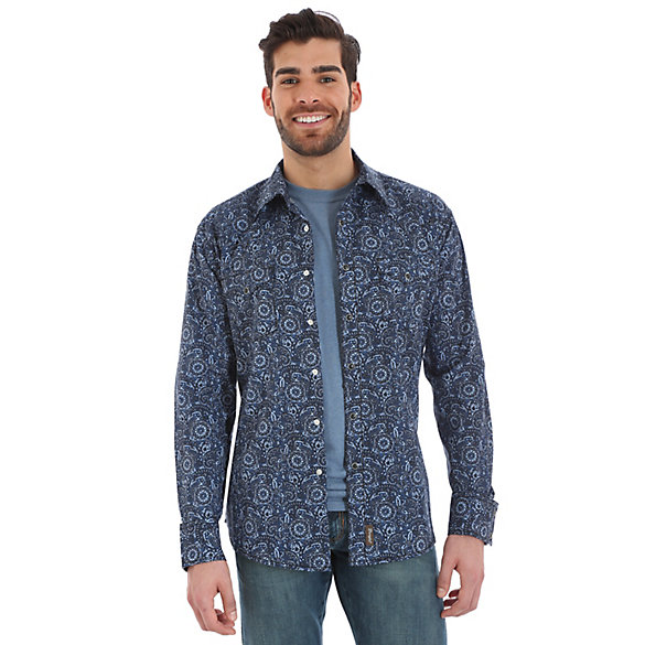 Men's Wrangler Retro® Western Snap Print Shirt (Tall Sizes)