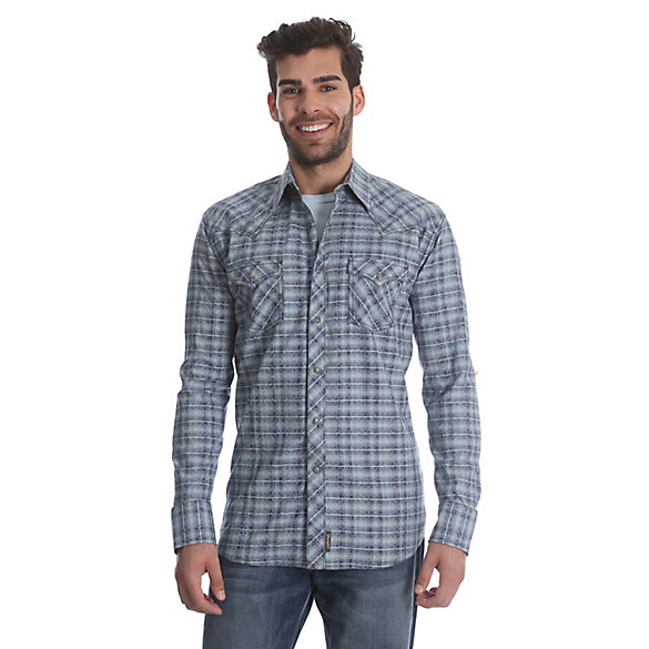 Men's Wrangler® Retro® Long Sleeve Western Snap Plaid Shirt