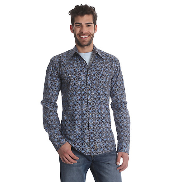 Men's Wrangler® Retro® Long Sleeve Western Snap Print Shirt (Tall Sizes)