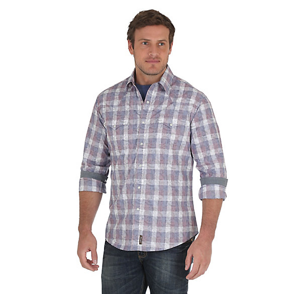 Men's Wrangler Retro® Long Sleeve with Contrast Trim Western Snap Overprint Shirt