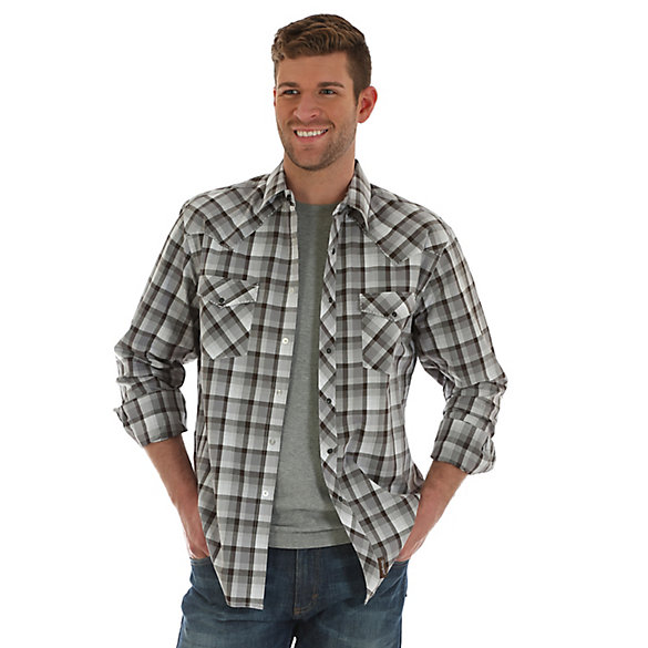 Men's Wrangler Retro® Long Sleeve Western Snap Heavy Stitching Plaid Shirt