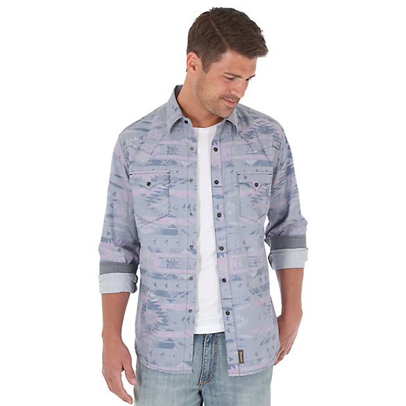 Men's Wrangler Retro® Long Sleeve Western Snap Single Needle Topstitching Print Shirt