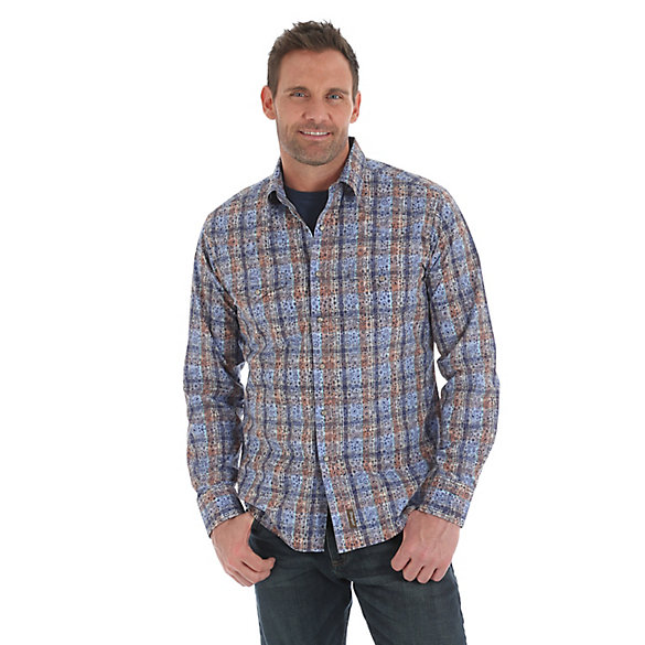 Men's Wrangler Retro® Long Sleeve Western Snap with Two Point Back Yokes Plaid with Overprint Shirt