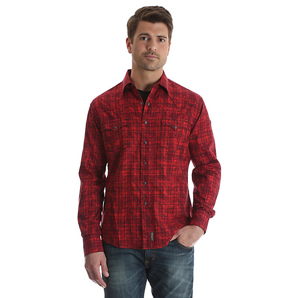 b2cf6be2 Men's Wrangler Retro® Long Sleeve Western Snap Overprint Shirt ...