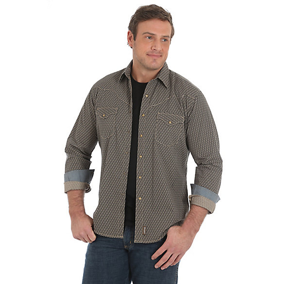 Men's Wrangler Retro® Vintage Western Snap Printed Long Sleeve Shirt