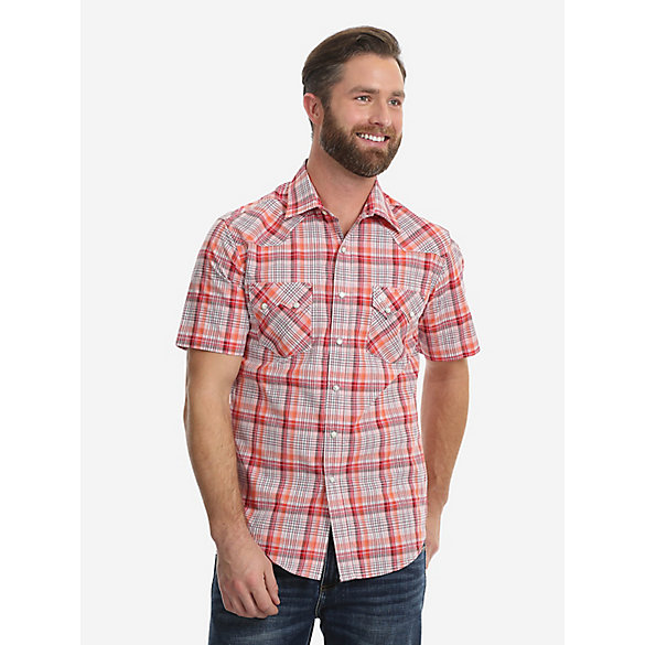 Men's Wrangler Retro® Short Sleeve Snap Pocket Plaid Shirt