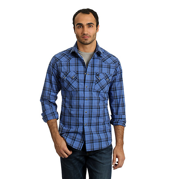Men's Wrangler Retro® Long Sleeve Sawtooth Snap Pocket Plaid Shirt