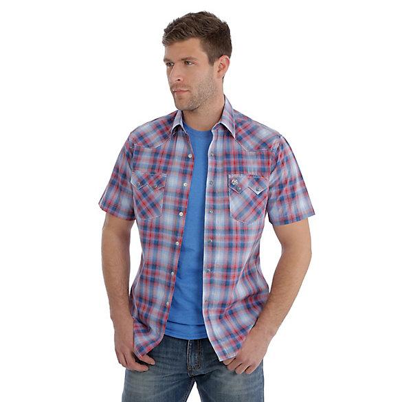 da56b0e6 Men's Wrangler Retro® Short Sleeve Snap Pocket Plaid Shirt   Mens ...