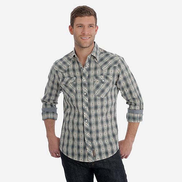 1c93ef99 Men's Wrangler Retro® Long Sleeve Western Snap Plaid Shirt   Mens ...