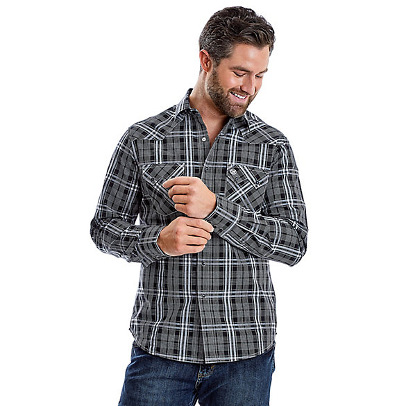 584542cc Men's Wrangler Retro® Long Sleeve Sawtooth Snap Pocket Plaid Shirt ...