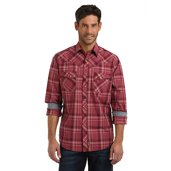 Men's Wrangler Retro® Vintage Yoke Long Sleeve Snap Pocket Plaid Shirt