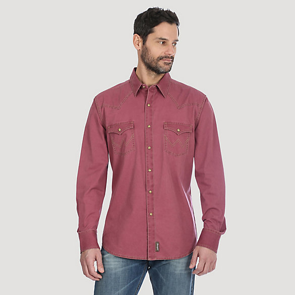 Men's Wrangler® Contrast Trim Western Two Snap Flap Pocket Shirt