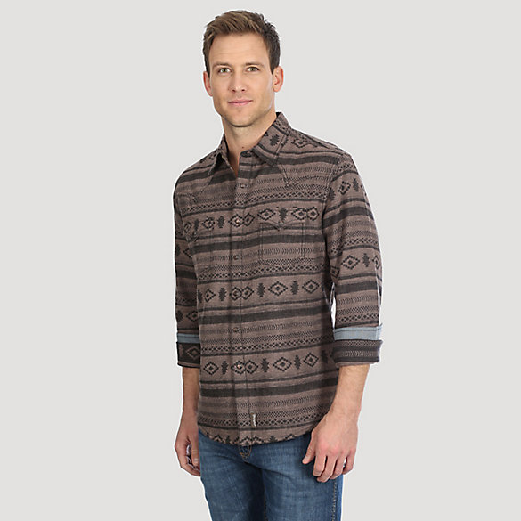 Men's Wrangler Retro® Jacquard Flannel Print Snap Shirt