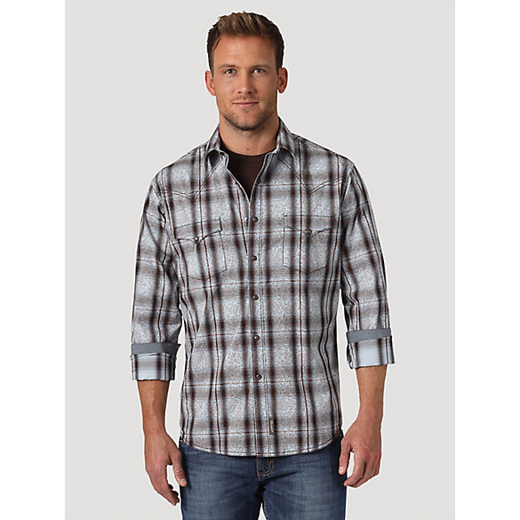 Men's Wrangler Retro® Plaid Overprint Western Snap Shirt