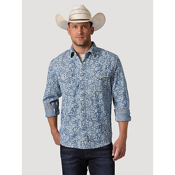 Men's Wrangler Retro® Denim Paisley Western Snap Shirt