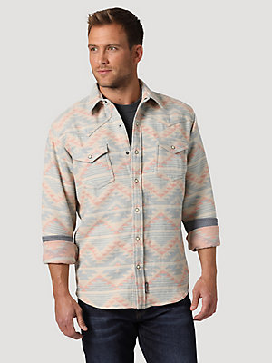 Men's Wrangler Retro® Jacquard Brushed Flannel Snap Shirt