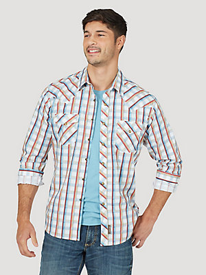 Men's Wrangler Retro® Long Sleeve Western Snap Plaid Shirt