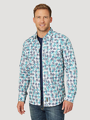 Men's Wrangler Retro® Long Sleeve Western Snap Plaid Overprint Shirt