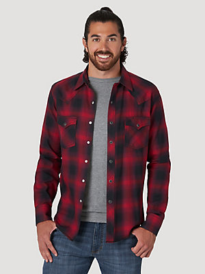 Men's Wrangler Retro® Long Sleeve Flannel Western Snap Plaid Shirt
