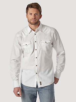 Men's Wrangler Retro® Long Sleeve Western Snap Solid Dobby Shirt