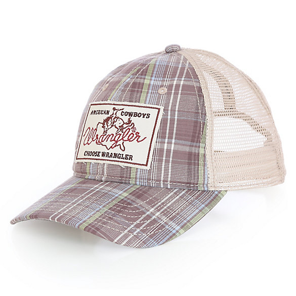 Men's Allover Plaid Cap with American Cowboys Logo Patch