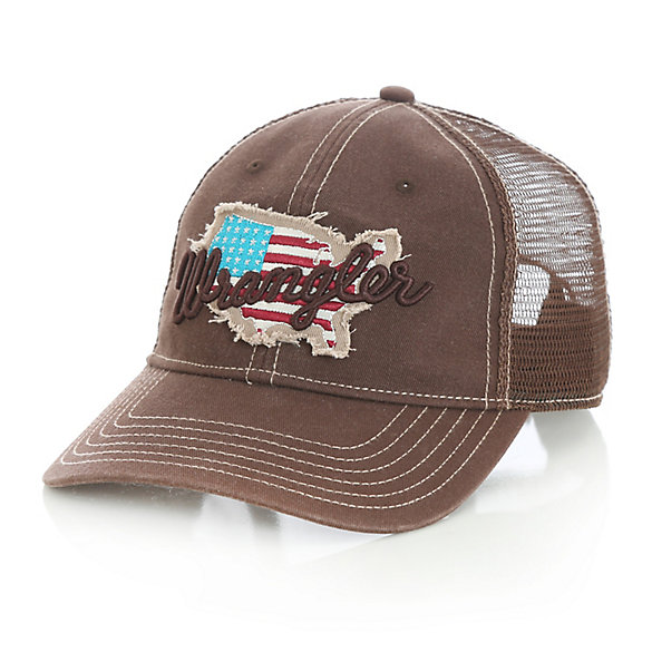 Men's Distressed USA Patch and Script Logo Trucker Hat