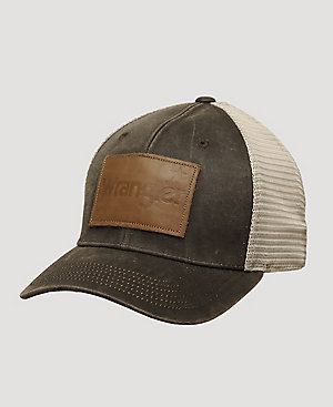 Men's Leather Patch Trucker Hat