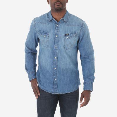Men's Born Ready Western Snap Long Sleeve Denim Shirt