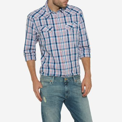 Men's Born Ready Two Pocket Western Snap Long Sleeve Plaid Shirt