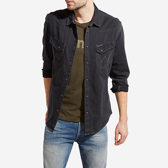 Men's Long Sleeve Western Snap with Slanted W Pockets Denim Shirt