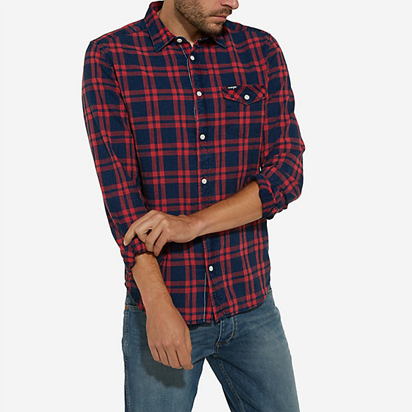 Men's Wrangler® Born Ready Long Sleeve Button Down Red and Indigo Check Shirt