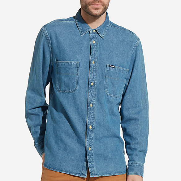 Men's Wrangler® Born Ready Long Sleeve Button Down Two Pocket Denim Shirt