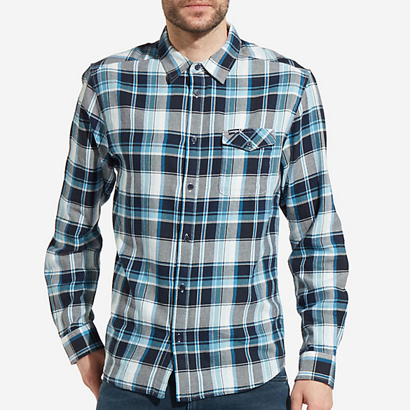 Men's Long Sleeve Button Down One Pocket Flap Plaid Shirt