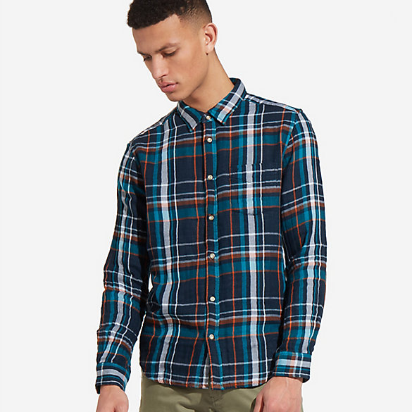 Men's Long Sleeve Button Down One Pocket Plaid Shirt