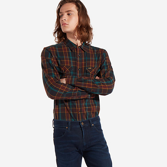 Men's Button Down Two Pocket Plaid Shirt