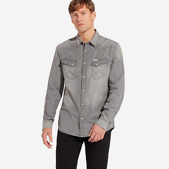 Men's Wrangler® Western Snap Grey Denim Shirt