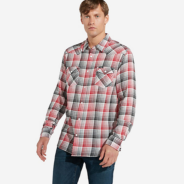 Men's Wrangler® Long Sleeve Two Pocket Western Snap Plaid Shirt