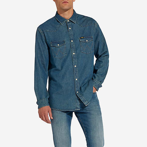 Men's Wrangler® Pearl Snap Denim Shirt