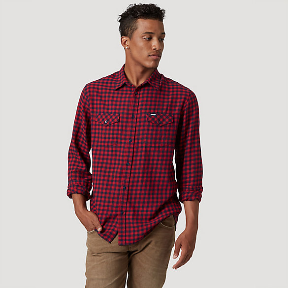 Men's Wrangler® Buffalo Plaid Button Down Shirt