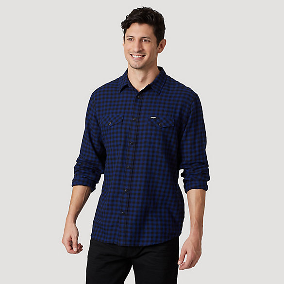 Men's Long Sleeve Two Pocket Plaid Shirt