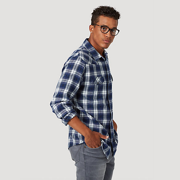 Men's Western Plaid Long Sleeve Shirt