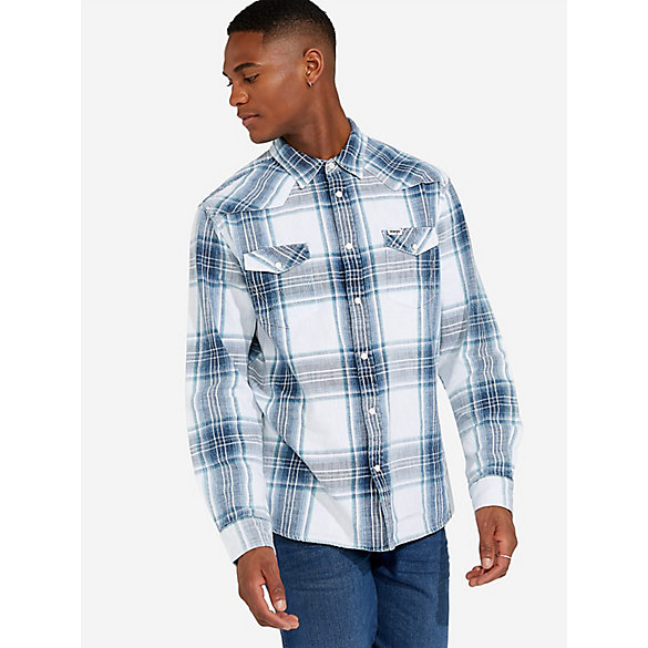 Men's Wrangler® Western Plaid Long Sleeve Shirt