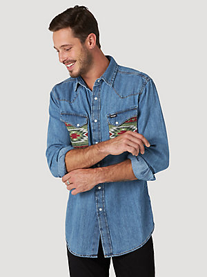 Men's Wrangler® Printed Pocket Western Denim Shirt