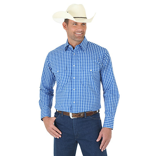 Men's Wrinkle Resist Long Sleeve Western Snap Plaid Shirt (Big & Tall Sizes)