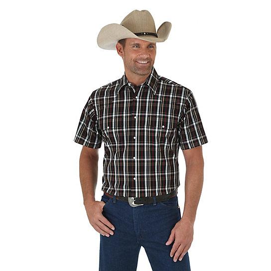 Men 39 s wrinkle resist short sleeve western snap plaid shirt for Mens tall western shirts