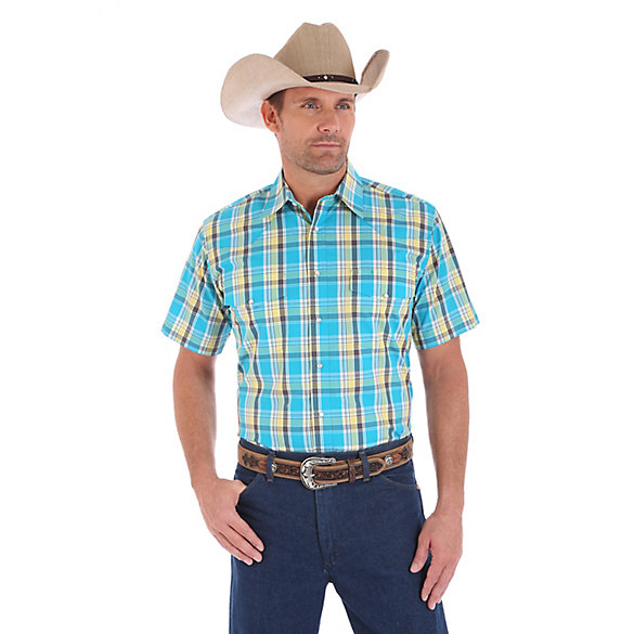 Men's Wrinkle Resist Short Sleeve Western Snap Plaid Shirt (Big & Tall)