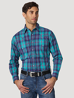 Men's Wrinkle Resist Long Sleeve Western Snap Plaid Shirt